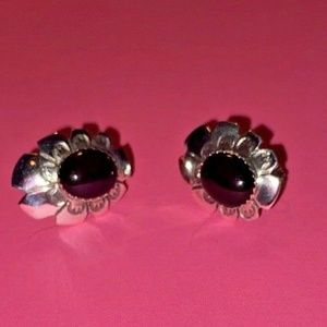 Vintage Navajo earrings silver onyx possible Jimmy